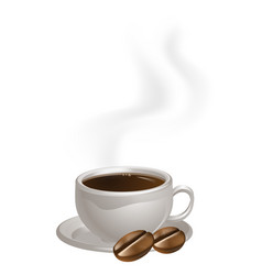 Cup of coffee plate and beans vector