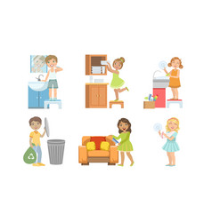 Cute boys and girls doing different housework vector