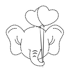 cute elephant with balloons air character icon vector image