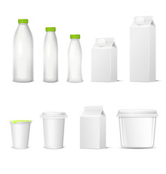 Dairy packaging realistic set vector