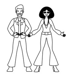 disco people cartoon in black and white vector image