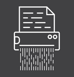 Document shredder line icon destroy file vector