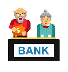 Elderly making deposit in bank grandparents vector