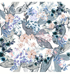 elegant pattern with leaves and flowers for design vector image