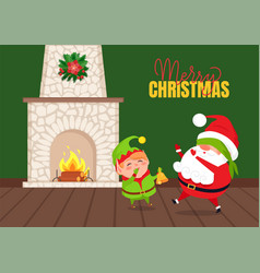 Eve playing game with santa near fireplace vector