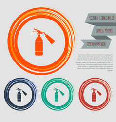 fire extinguisher icon on the red blue green vector image
