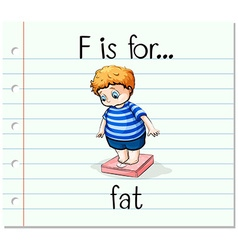 Flashcard letter F is for fat vector