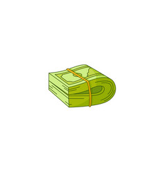 flat cash money banknote bundle folded vector image