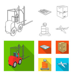 Forklift delivery slips packaged goods cargo on vector