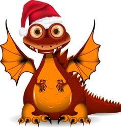 Funny dragon santa vector