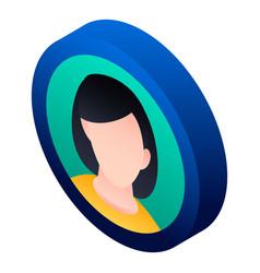 Girl avatar icon isometric style vector