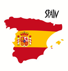 hand drawn stylized map spain with flag travel vector image