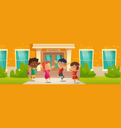 happy children in front school building vector image