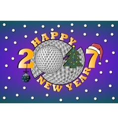 Happy new year 2017 and golf vector