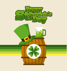 happy st patricks day barrel sticker clover hat vector image