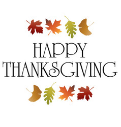 Happy thanksgiving typography graphic with leaves vector