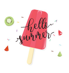 Hello summer with fruit popsicle on white vector