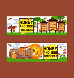 honey sweet apiary farm beekeeping banner vector image