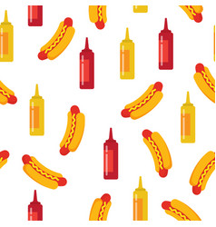 hot dog with bottles of mustard and ketchup vector image