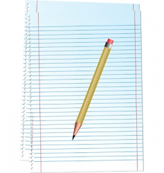 illustration notepad with pencil vector image