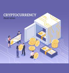 Isometric cryptocurrency vector