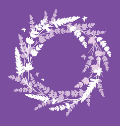 Lavender flowers wreath frame bouquet element vector