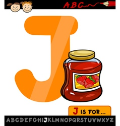 letter j with jam cartoon vector image