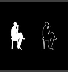 Man drinking from mug sitting on stool with vector