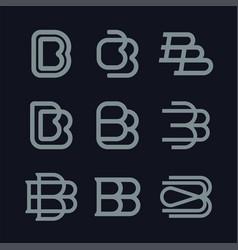 Modern professional monogram set bb in red theme vector