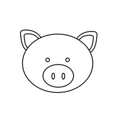Monochrome contour with male pig head vector