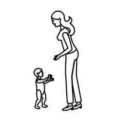 Mother and her son child together line vector