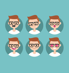 nerd boy profile pics set of flat portraits vector image