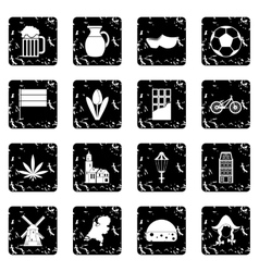 Netherlands set icons grunge style vector