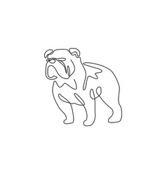 One continuous line drawing dashing bulldog vector