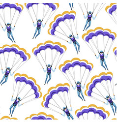 parachute jumping extreme sports or hobbies vector image