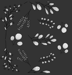 pattern with doodle branches vector image