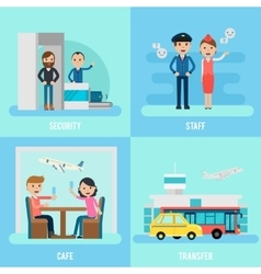 People In Airport Flat Concept vector image