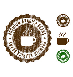 Premium arabica beans stamp seal with dirty effect vector