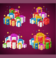 realistic 3d detailed present boxes piles set vector image