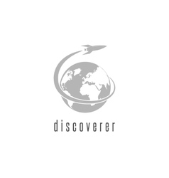Rocket logo world discovery space shuttle vector