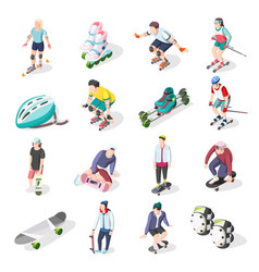 Roller and skateboarders isometric icons vector
