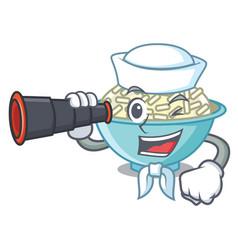Sailor with binocular rice bowl mascot cartoon vector