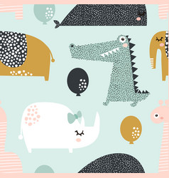 seamless pattern with rhinoceros elephant vector image