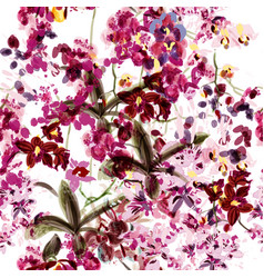 Seamless wallpaper orchid flowers spot painded vector