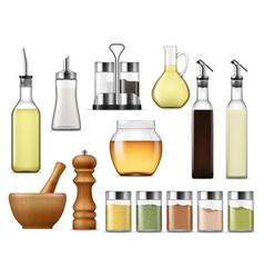 seasonings and dressings salt pepper glass bottles vector image