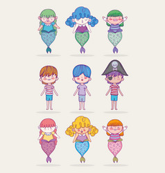 set mermaid women with pirate and boys vector image