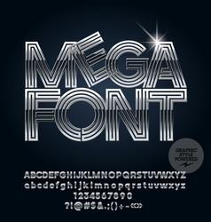 Set of elegant chrome alphabet letters vector