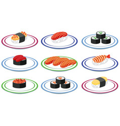 set of sushi on plate vector image
