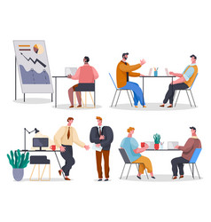 set office characters employees engaged in vector image