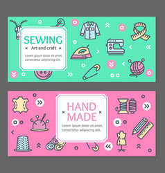 sewing flyer banner posters card set vector image